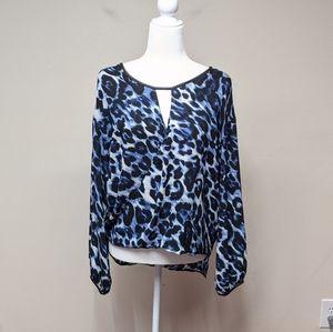 Cache Blue Animal Print Top